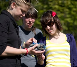 Students with oysters